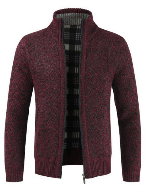 Solid Color Zip Up Long Sleeves Cardigan - RED WINE XL