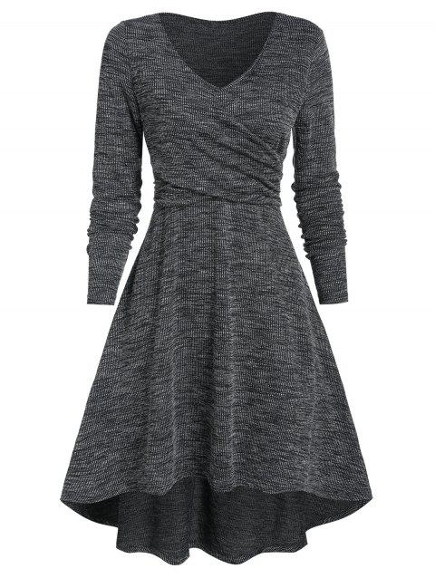 V Neck Heathered Crossover High Low Dress