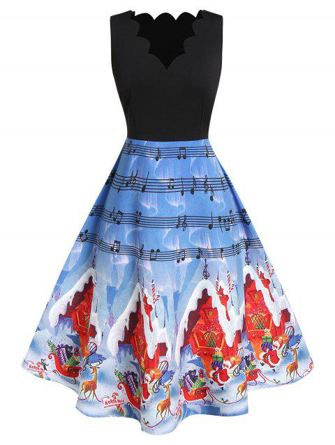 Plus Size Christmas Scalloped Printed A Line Dress