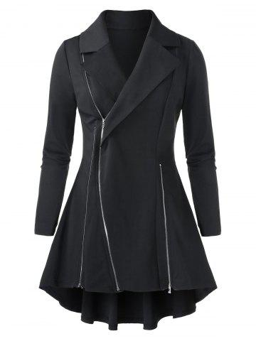 Plus Size Solid Zippered Tunic Coat