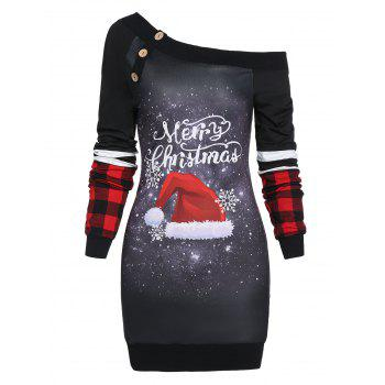 Christmas Skew Neck Hat Print Dress