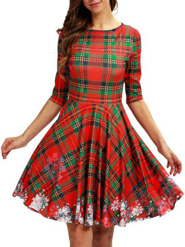 Plaid Snowflake Christmas A Line Dress - multicolor M