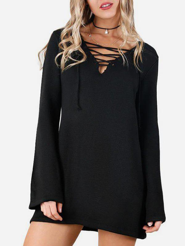 Lace Up Flare Sleeves Solid Knitwear - BLACK XL