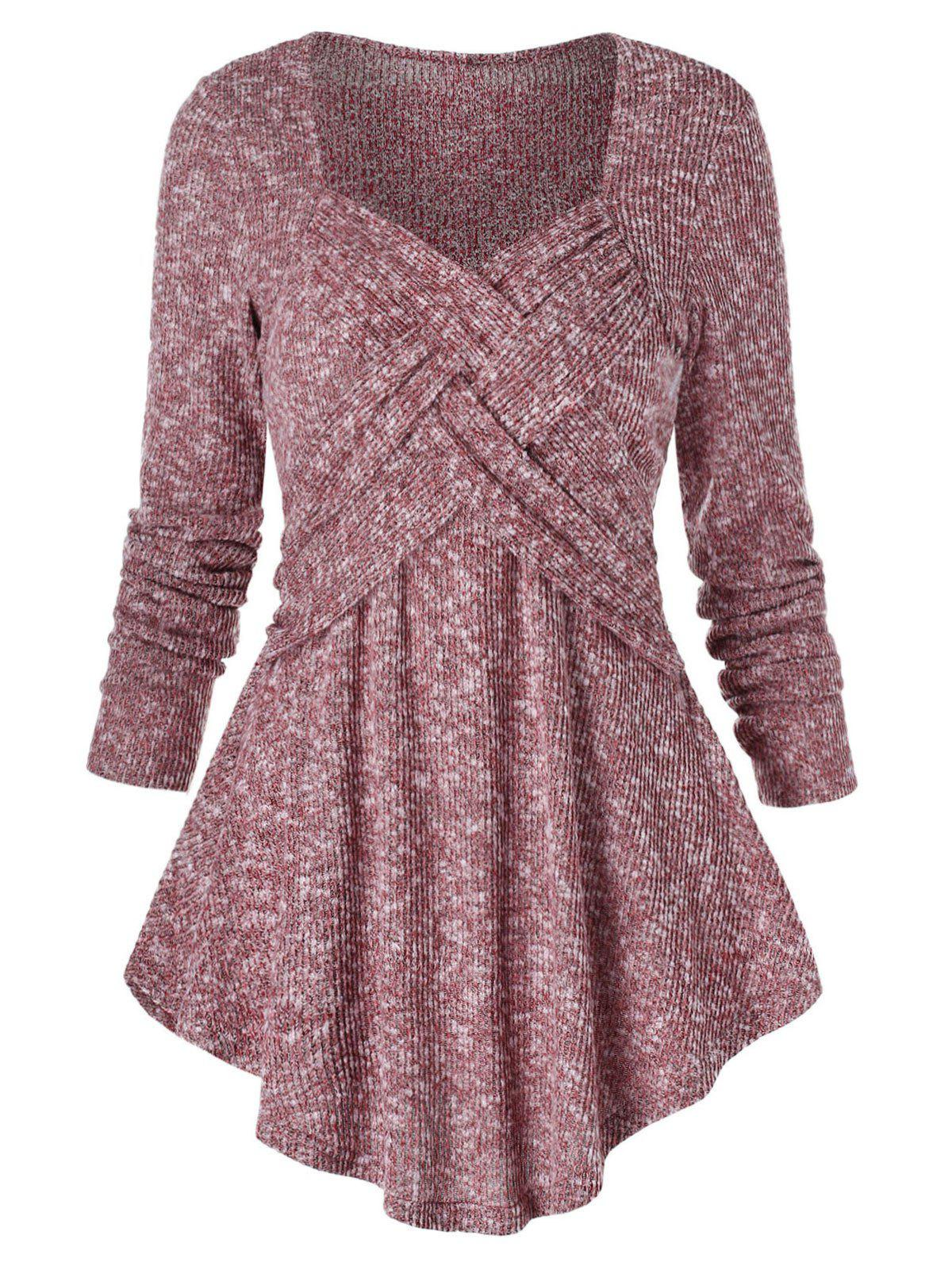 Sweetheart Neck Marled Tunic Sweater - BEAN RED 3XL