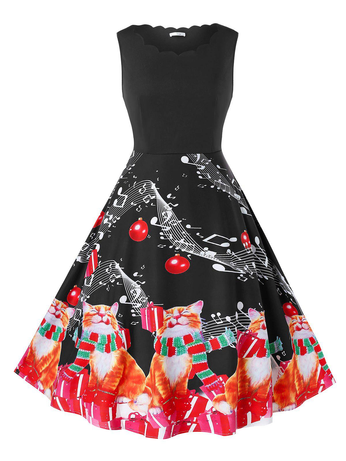 Plus Size Vintage Cat Print Christmas Pin Up Dress - BLACK L