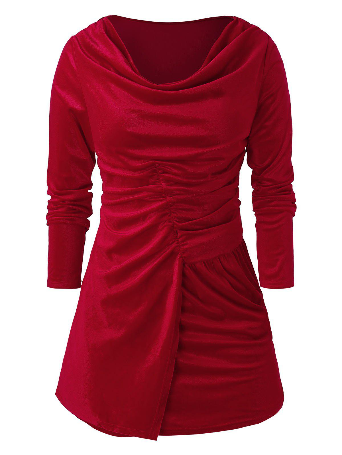 Plus Size Velvet Cowl Collar Solid T Shirt - RED WINE 5X