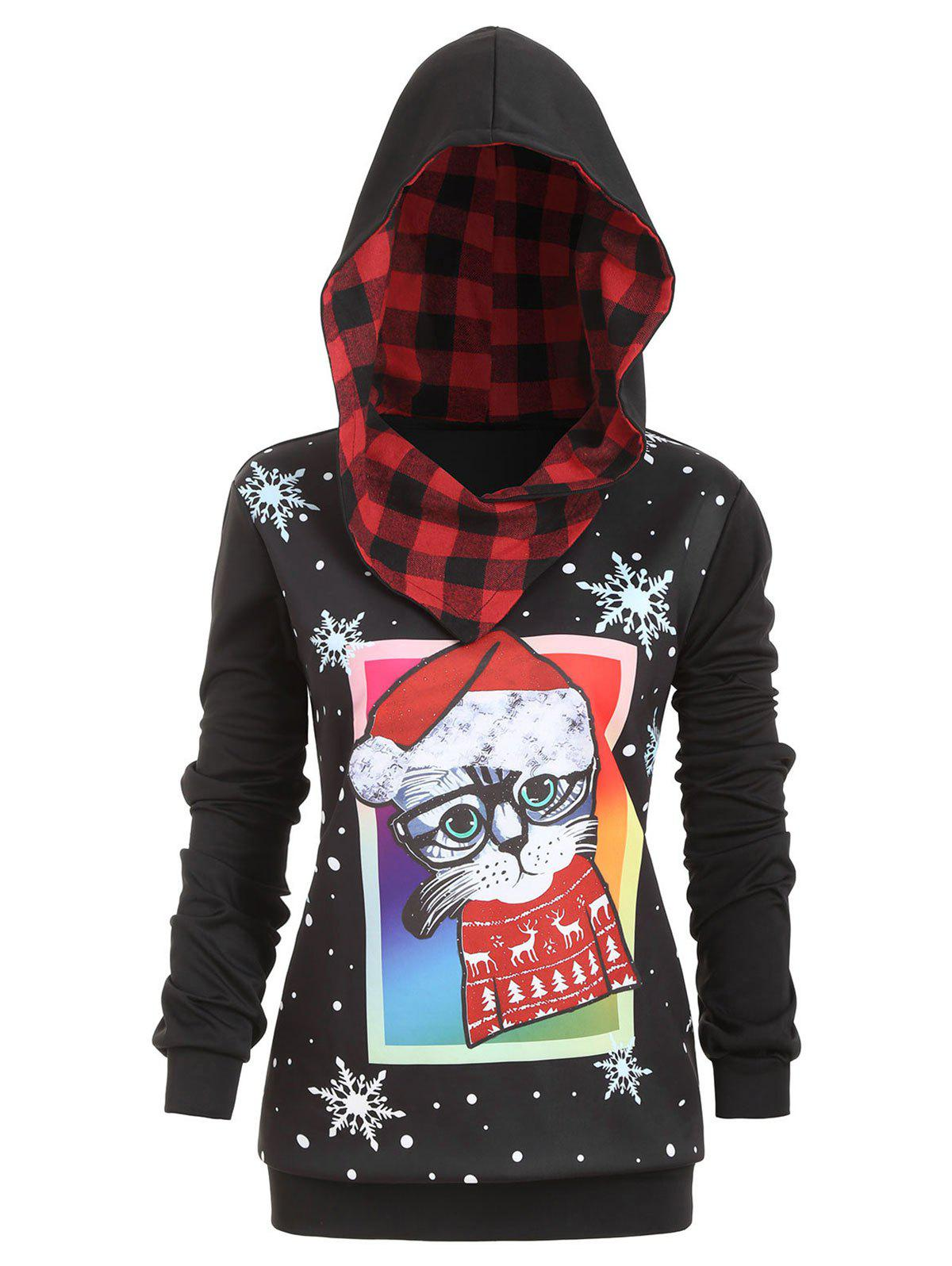 Plus Size Cat Snowflake Print Christmas Hoodie - BLACK 3X