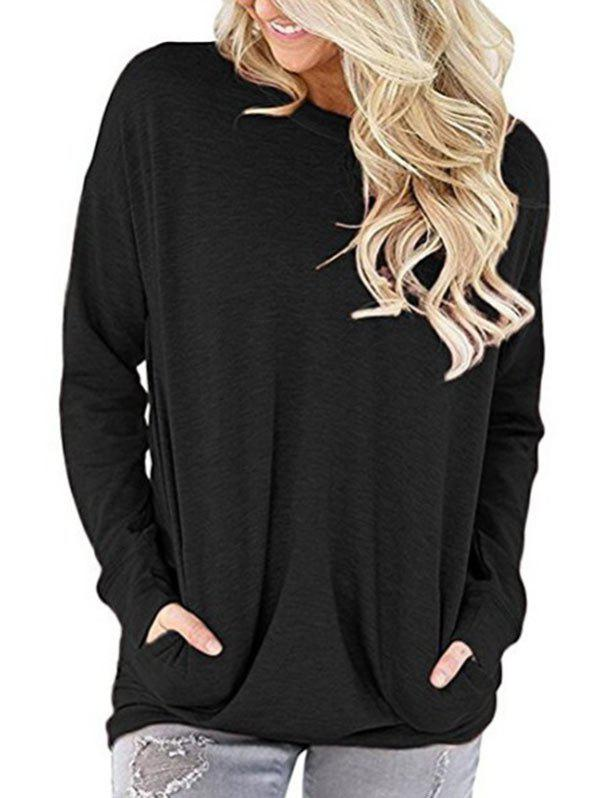 Round Neck Pockets Solid Sweatshirt - BLACK 2XL