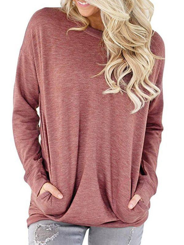 Round Neck Pockets Heathered Sweatshirt - PINK M