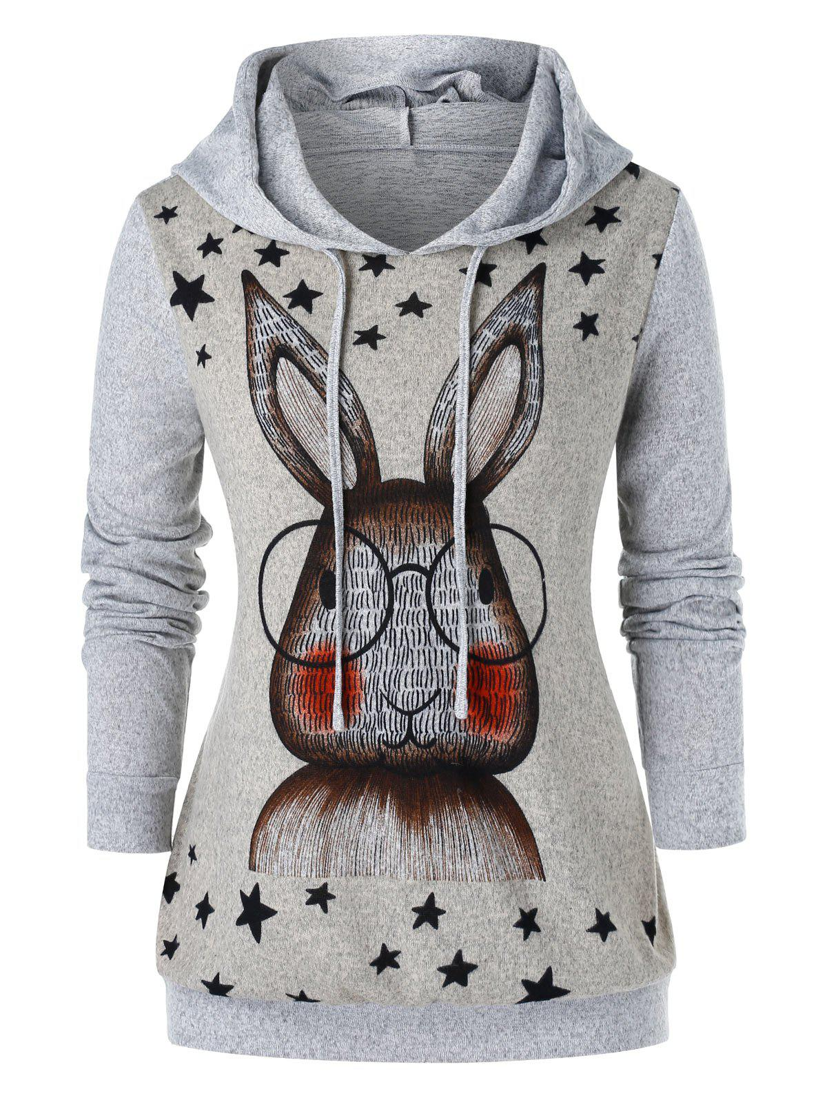 Plus Size Rabbit Ear Printed Pullover Hoodie - GRAY L