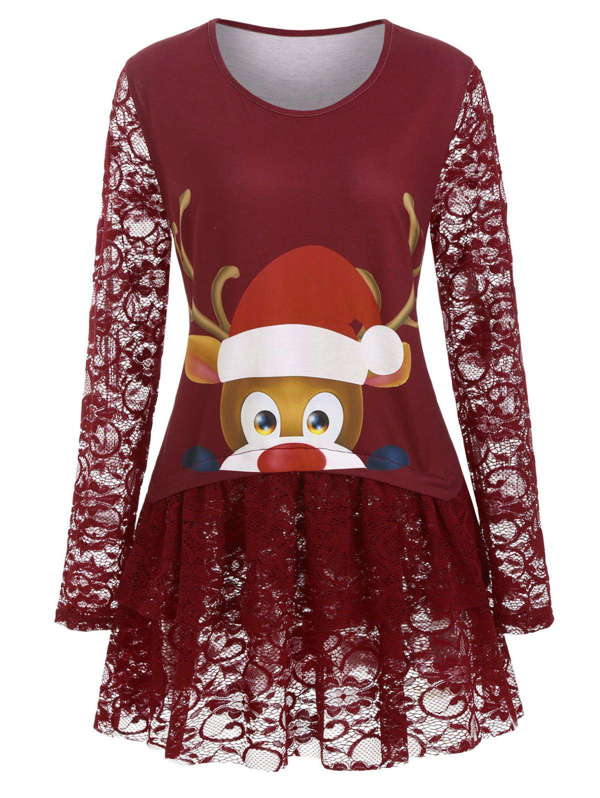 Longline Cartoon Elk Print Lace Panel Christmas Plus Size Top - RED 4X