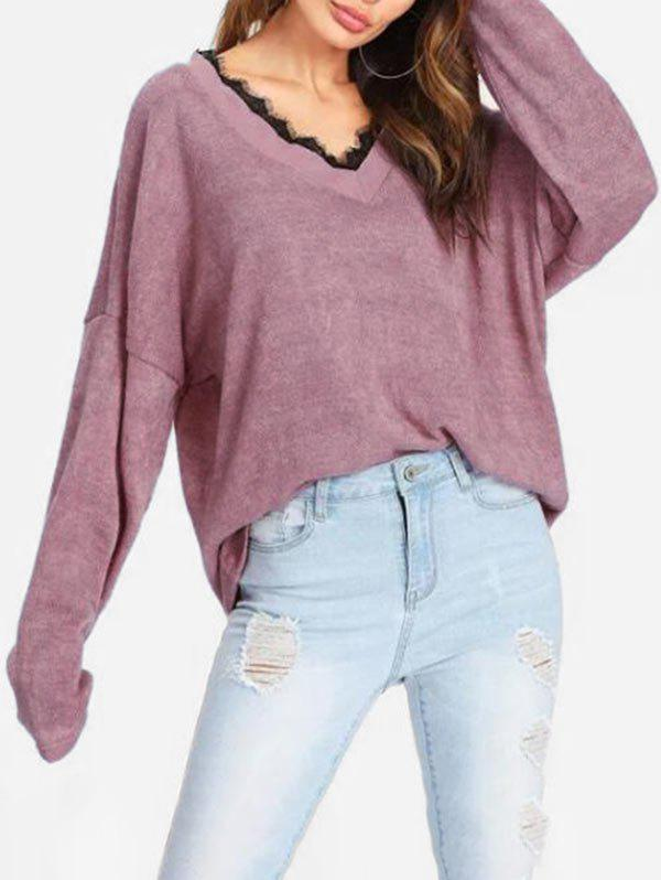 Lace Trim V Neck Loose Knitwear - ROSY BROWN L