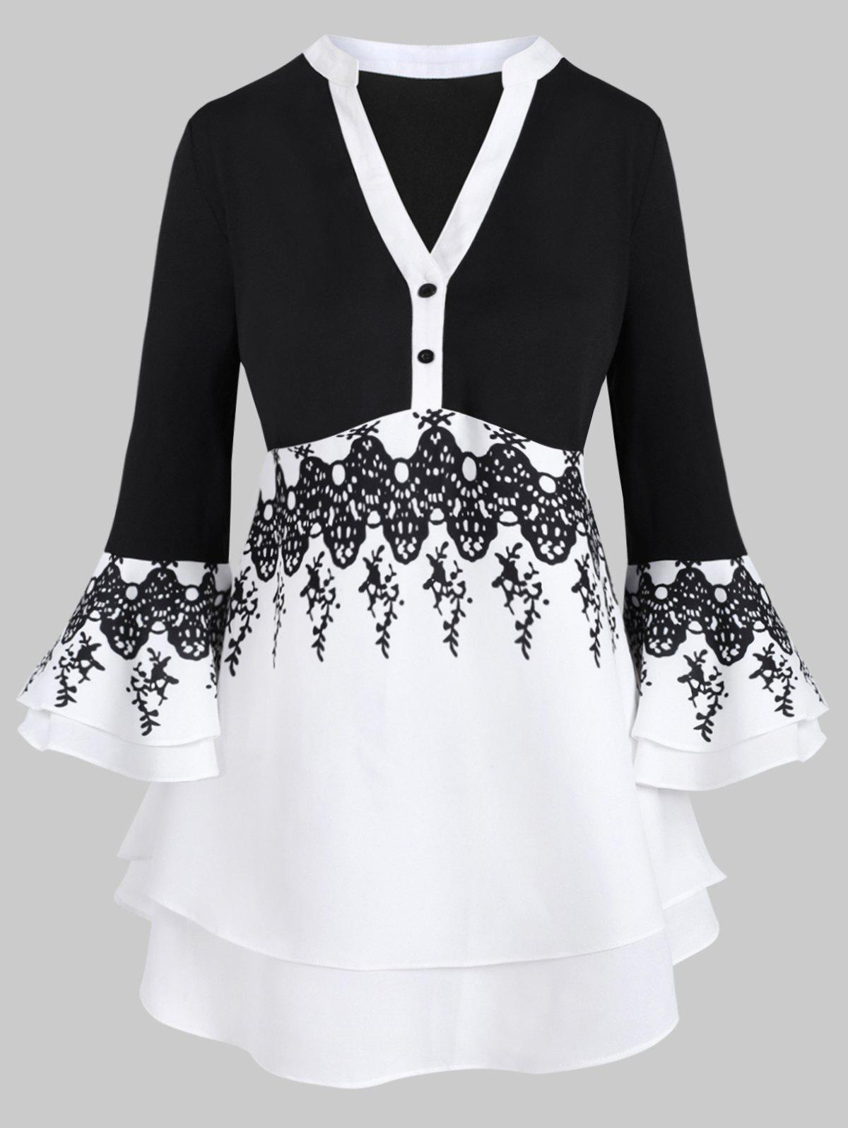 Flare Sleeve Tiered Printed Two Buttoned Plus Size Blouse - BLACK 1X