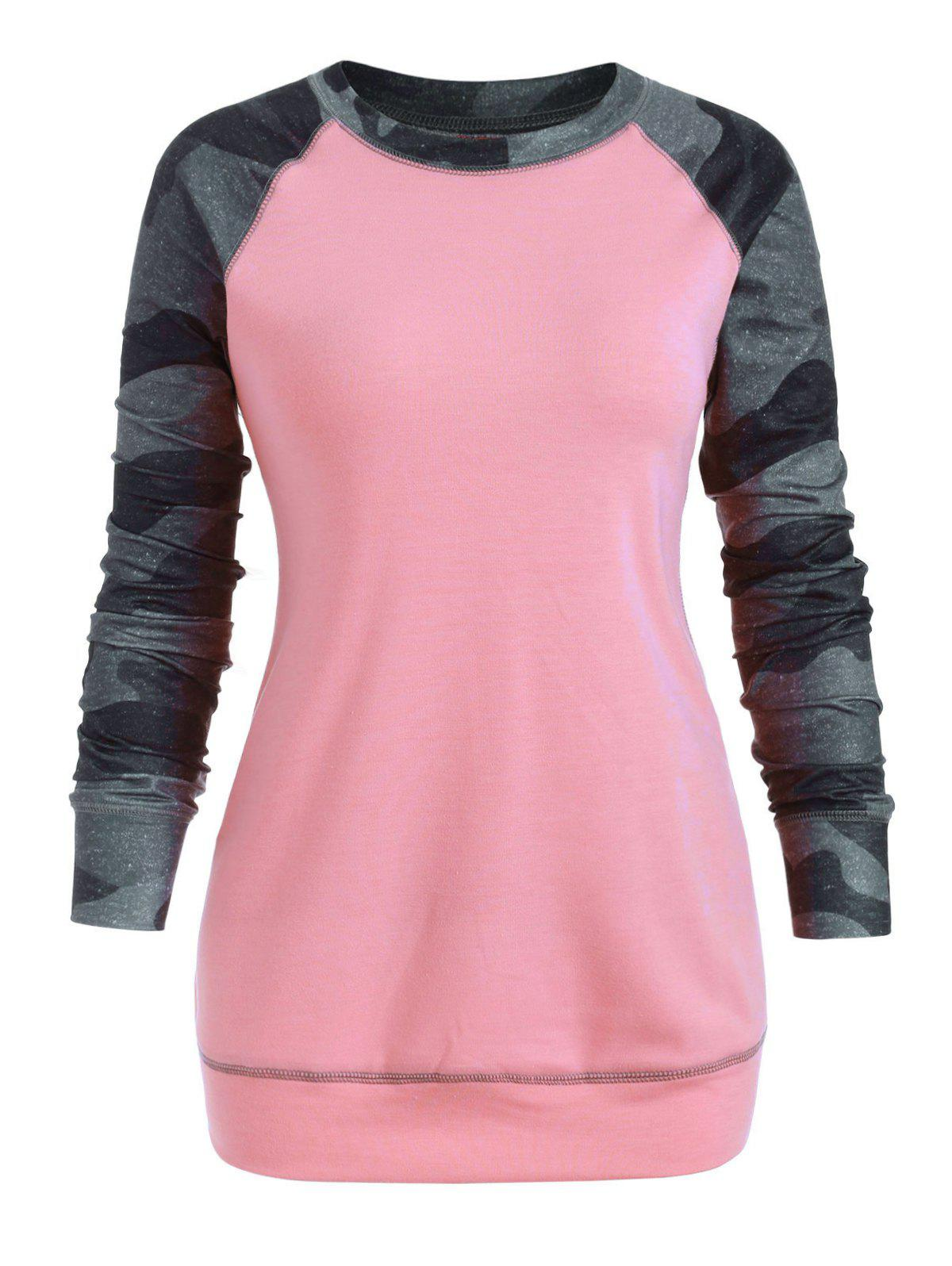 Manches Camo Raglan Brochage Contraste plus Sweat-shirt Taille - Rose L
