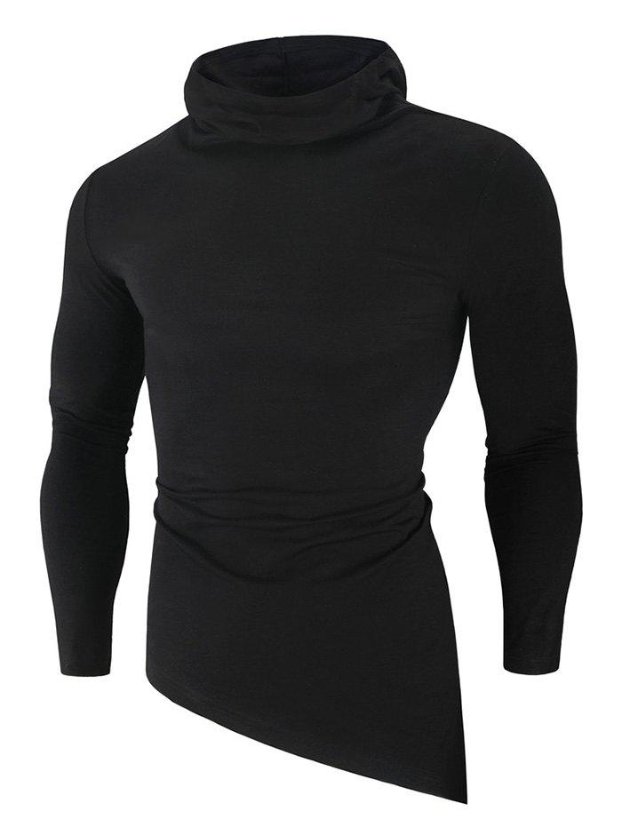 Solid Color High Low Long Sleeve Hooded T-shirt - BLACK M