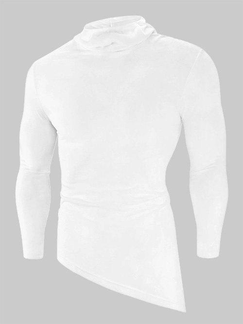 Solid Color High Low Long Sleeve Hooded T-shirt - WHITE 3XL