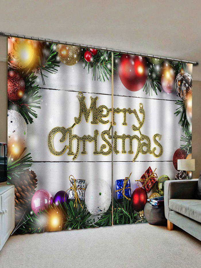 2 Panels Christmas Balls and Gifts Window Curtains - multicolor W33.5 X L79 INCH X 2PCS
