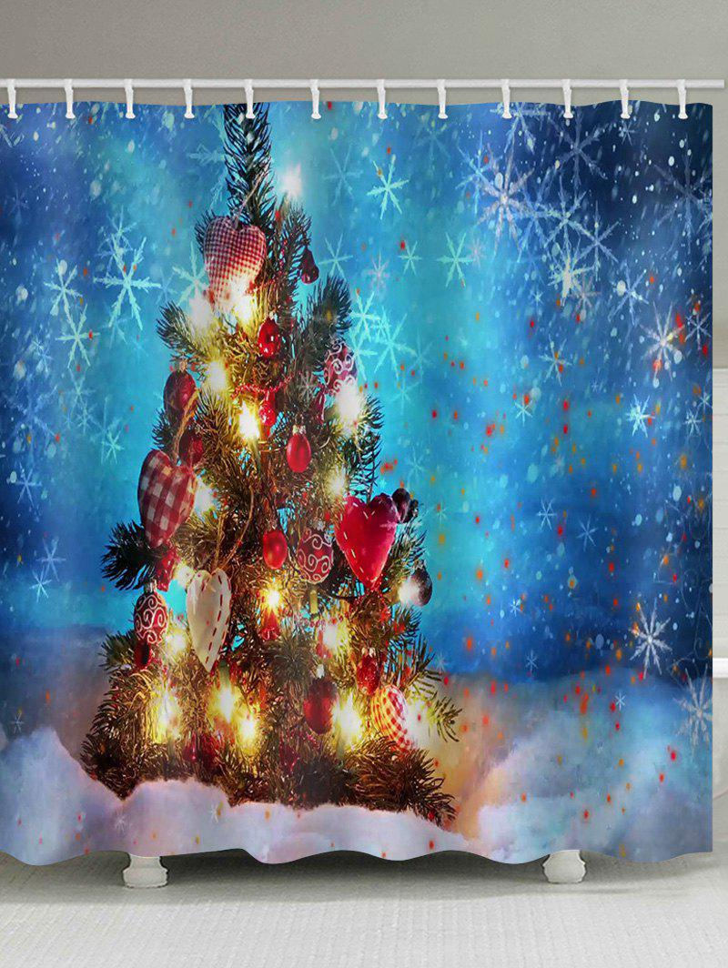 Christmas Tree Light Waterproof Shower Curtain