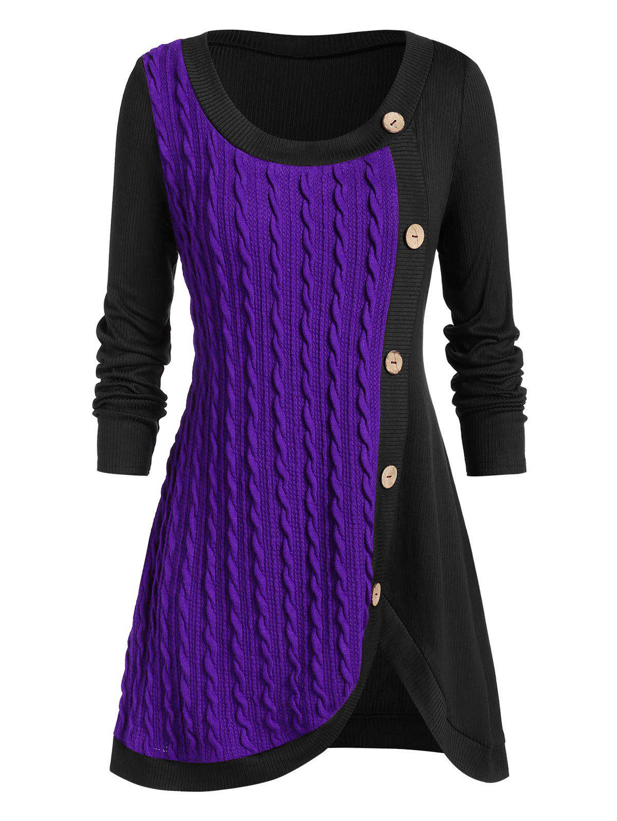 Plus Size Buttoned Front Slit Cable Knit Sweater - PURPLE AMETHYST 4X