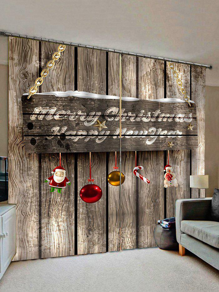 2 Panels Christmas Greeting Wooden Board Print Window Curtains - multicolor W33.5 X L79 INCH X 2PCS