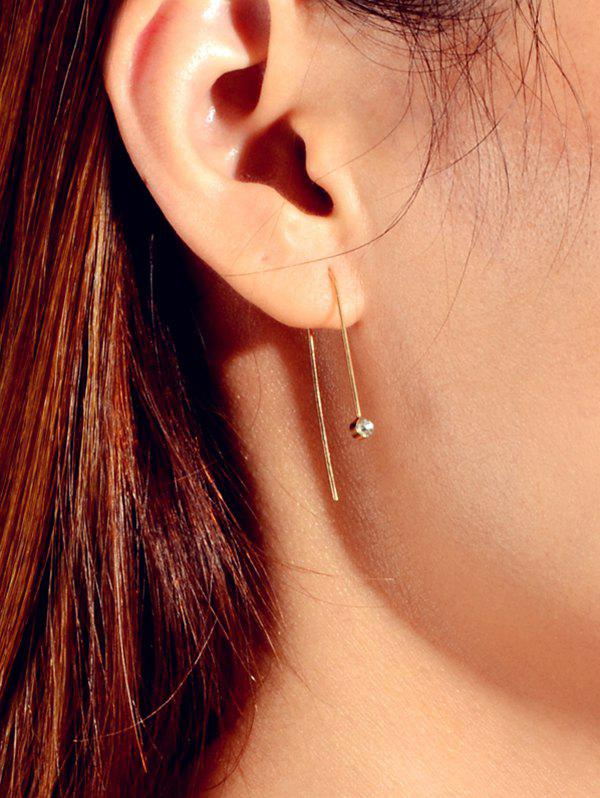 Tiny Rhinestone Ear Through Earrings - GOLD