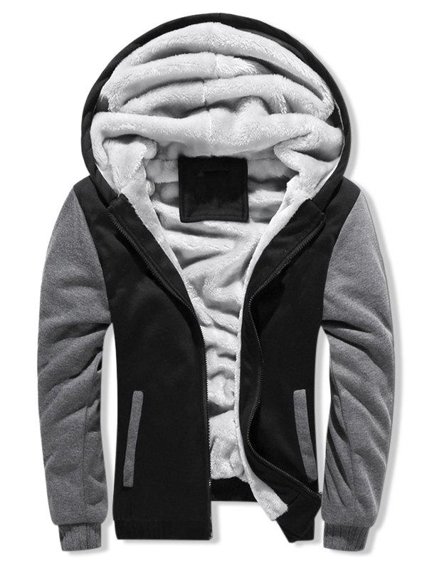 Contrast Color Brushed Front Zip Hoodie - DARK GRAY 2XL