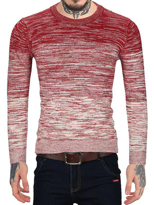 Ombre Print Casual Round Neck Sweater - RED L