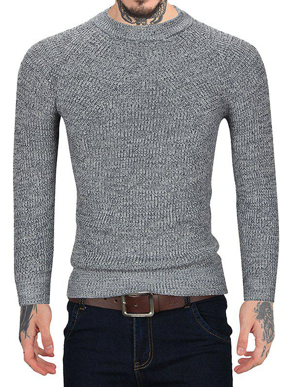 Brief Style Round Neck Sweater - GRAY M