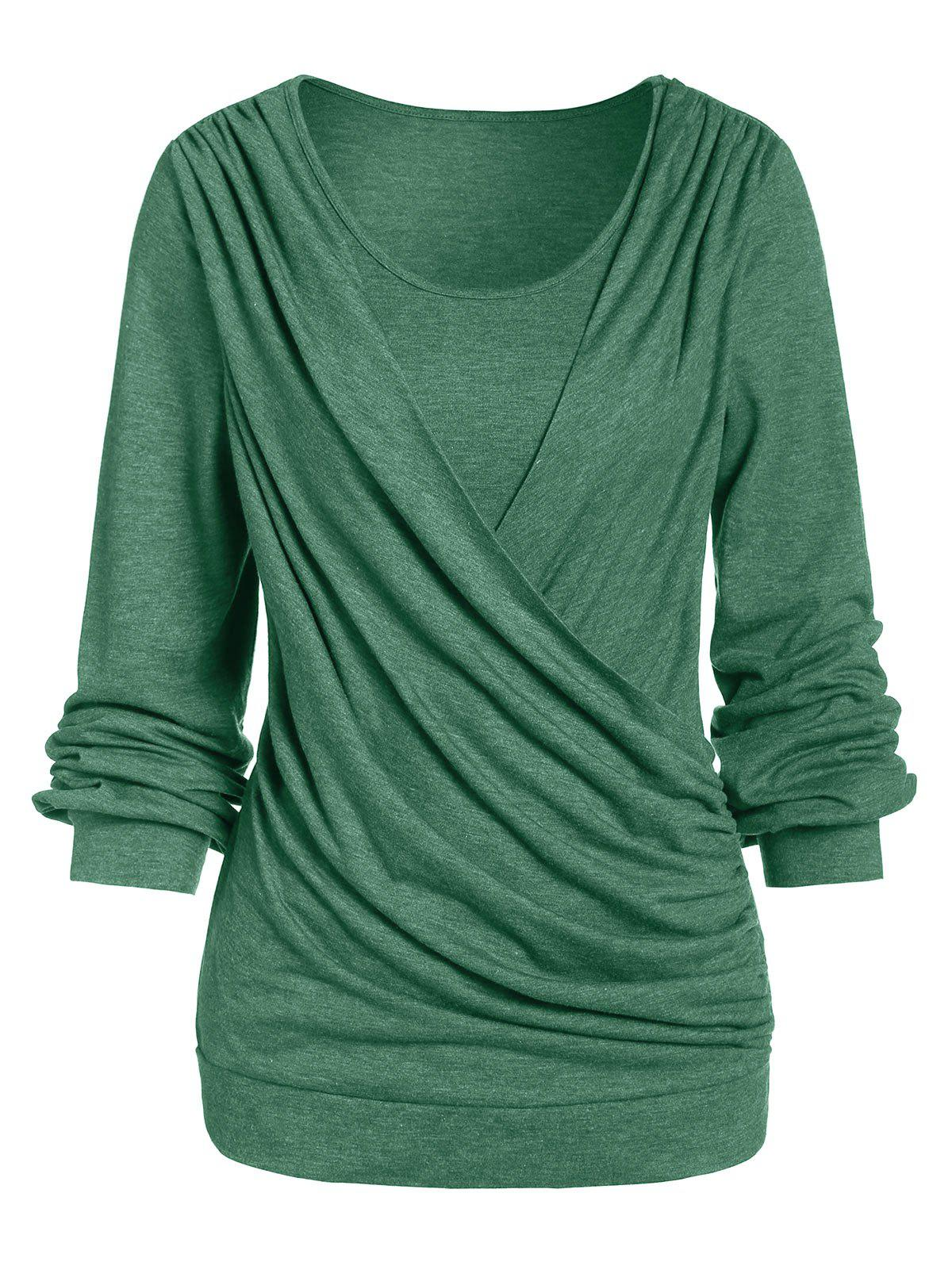 Long Sleeve Round Collar Marled T Shirt - SEA TURTLE GREEN S