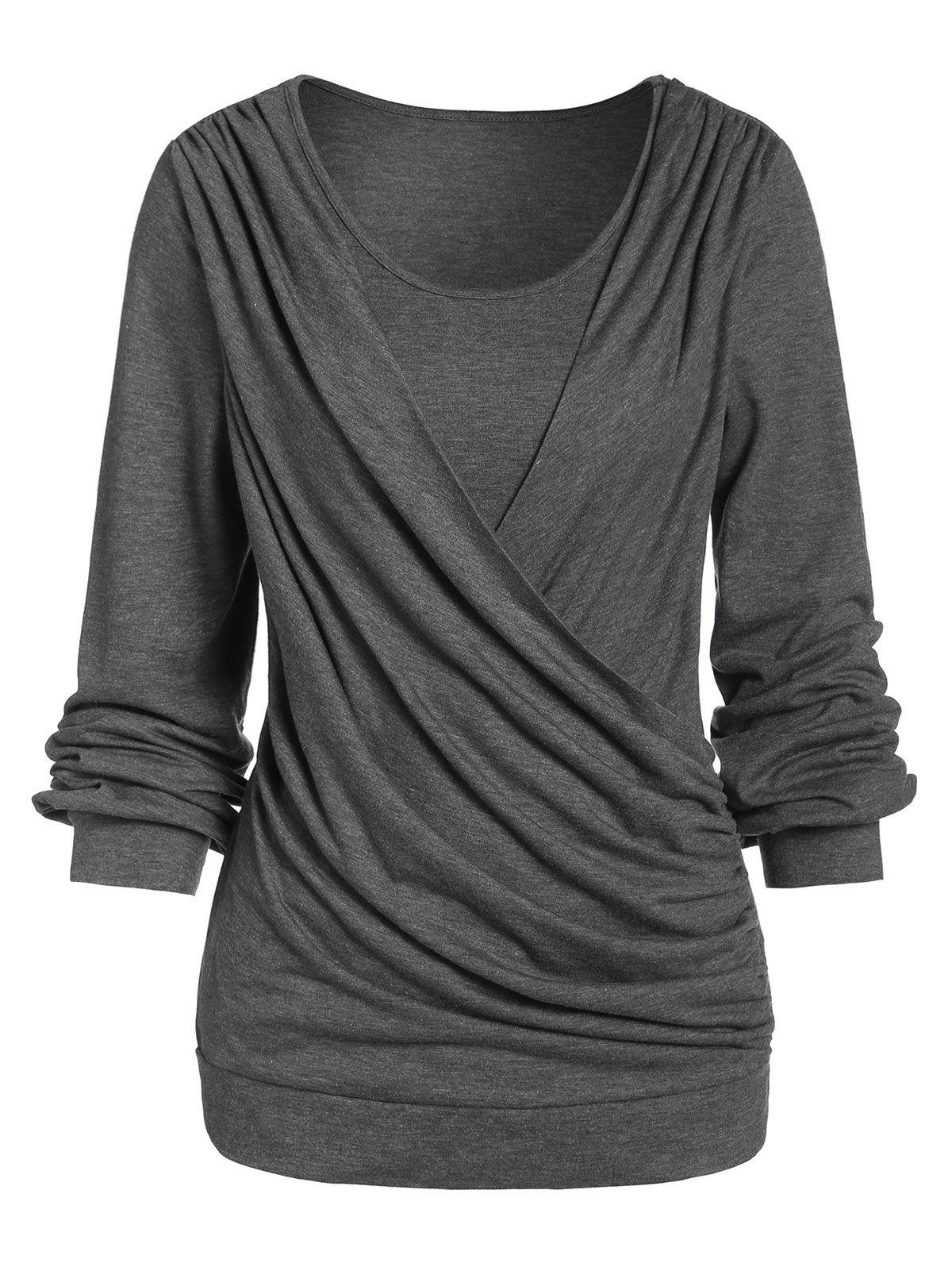 Long Sleeve Round Collar Marled T Shirt - CLOUDY GRAY L