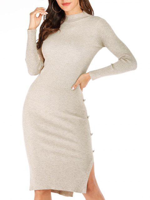 Mock Neck Button Ribbed Bodycon Jumper Dress - BLANCHED ALMOND ONE SIZE