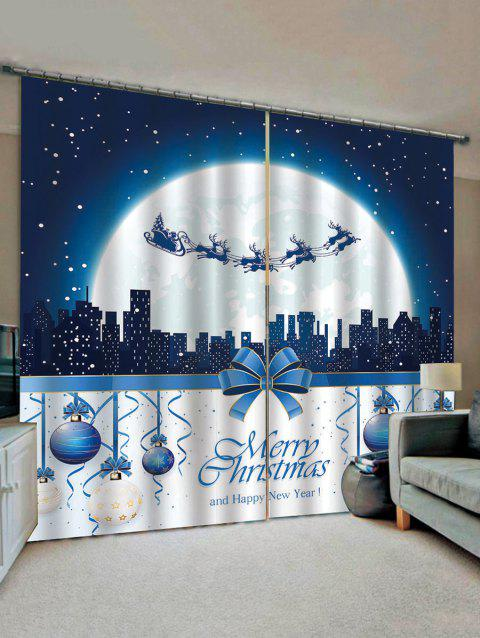 2 Panels Christmas Moon Night Balls Print Window Curtains - multicolor W33.5 X L79 INCH X 2PCS