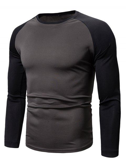 Color Spliced Full Sleeves Casual T-shirt - BLACK M