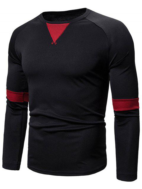 Casual Color Spliced Full Sleeves T-shirt - BLACK L