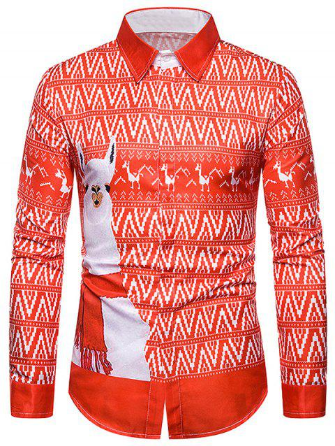 Grass Mud Horse Zigzag Graphic Button Up Shirt - multicolor 2XL
