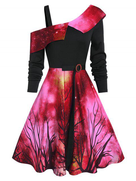 Starry Sky Halloween Skew Neck Asymmetrical Dress