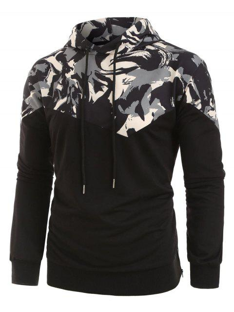 Plus Size Abstract Print Zipper Slit Drawstring Pullover Hoodie - multicolor 5XL