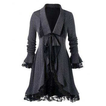 Plus Size Front Tie Ruffled Lace Insert Coat