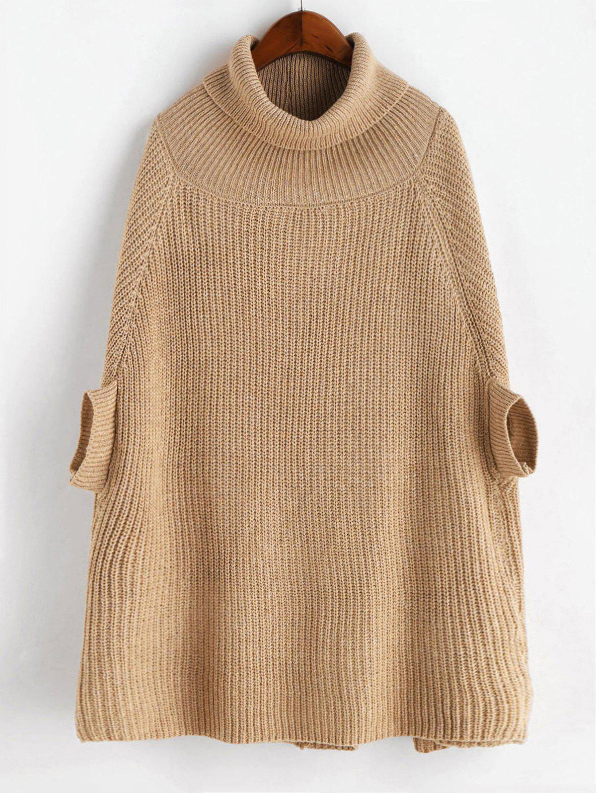 Turtleneck Chunky Cape Sweater - CAMEL BROWN ONE SIZE