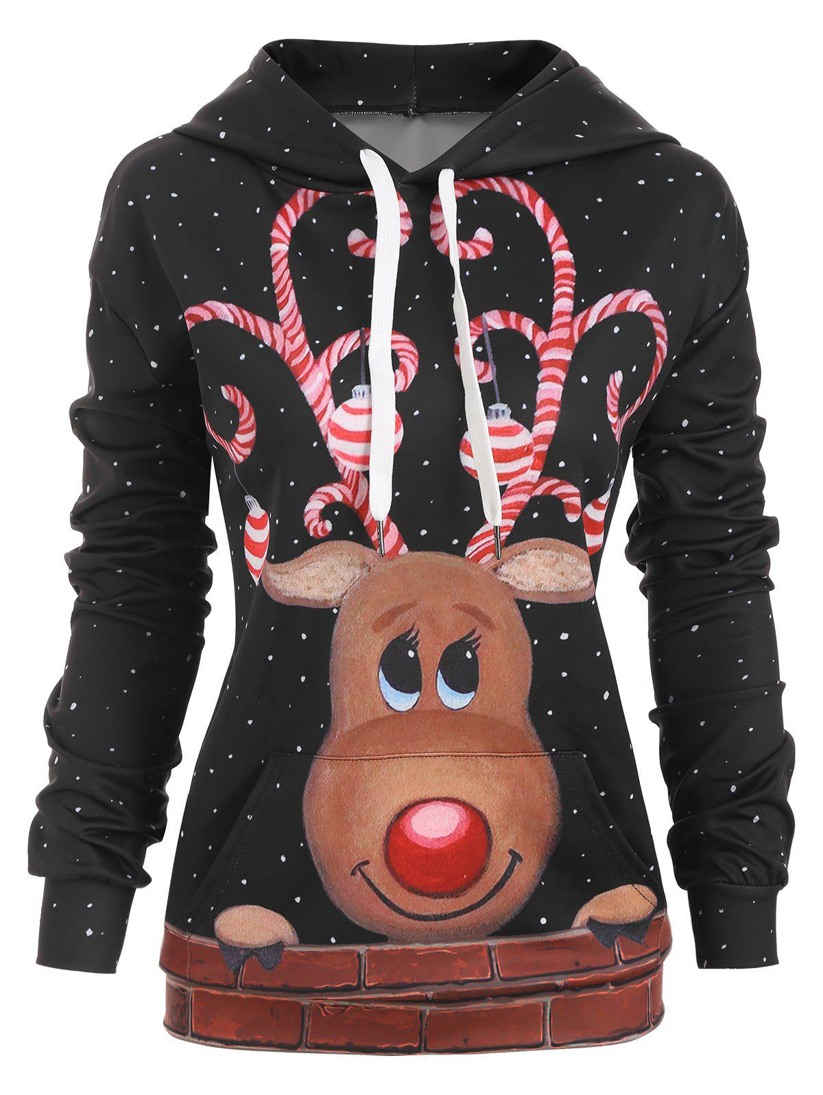 Reindeer Snow Front Pocket Christmas Drawstring Hoodie - BLACK L