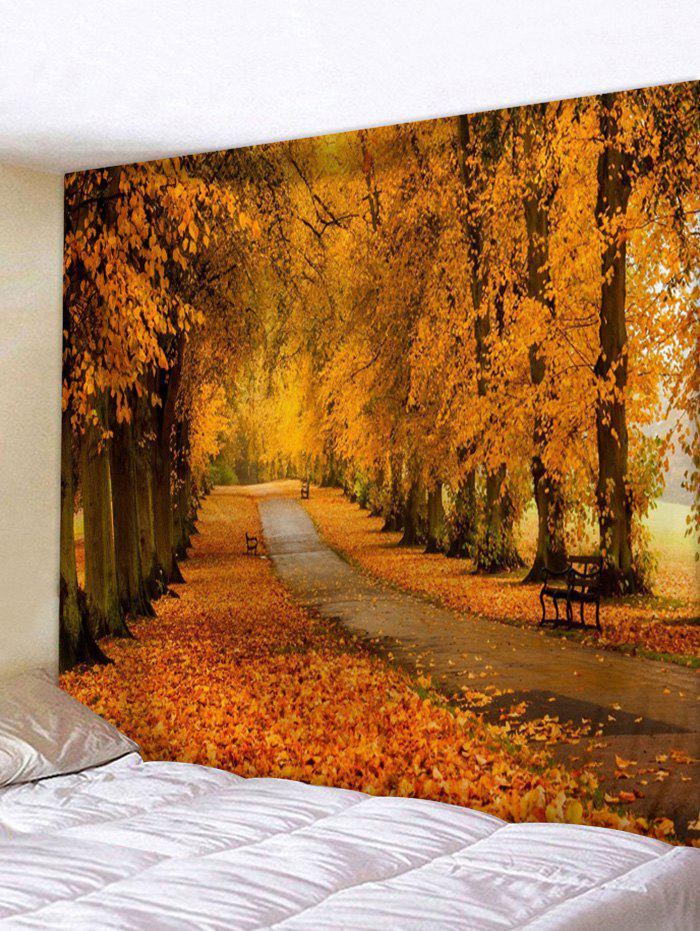 Maple Forest Road Print Tapestry Wall Hanging Art Decoration - CHOCOLATE W71 X L91 INCH