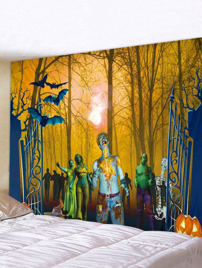 Halloween Forest Zombie Print Tapestry Wall Hanging Art Decoration - multicolor A W71 X L71 INCH