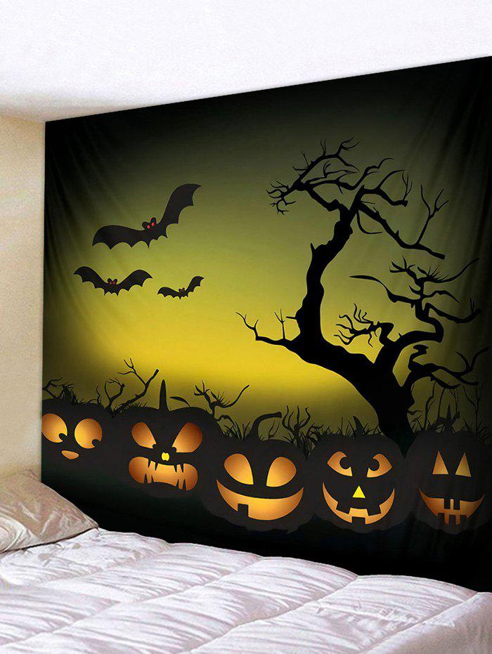 Halloween Night Pumpkins Print Tapestry Wall Hanging Art Decor - multicolor A 230*180CM