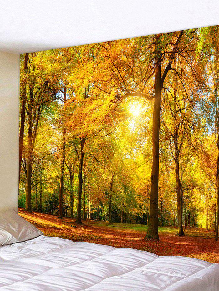 Sunlight Maple Forest Print Tapestry Wall Hanging Art Decoration - multicolor A 150*130CM