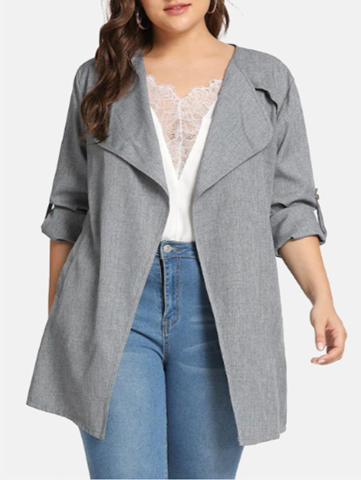 Marl Open Front Belted Plus Size Coat - GRAY 3X