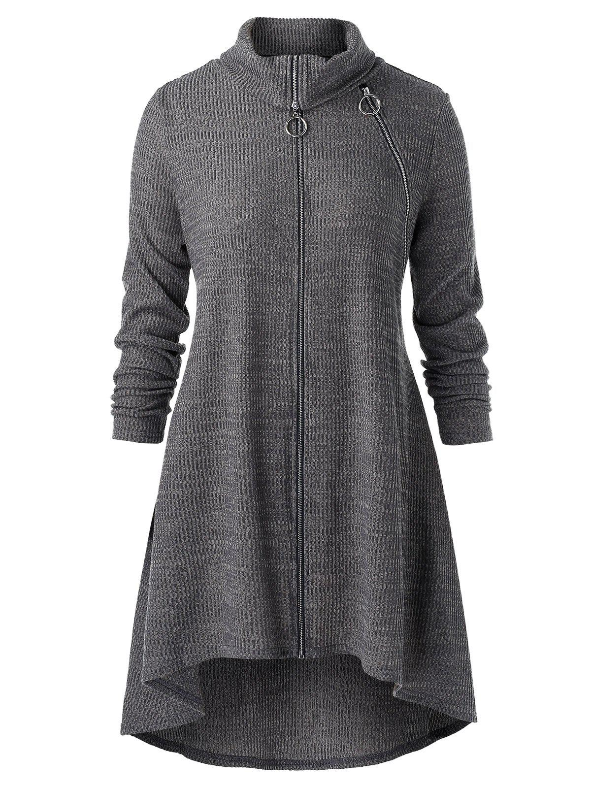 Plus Size Zipper Fly High Low Tunic Coat - CARBON GRAY L