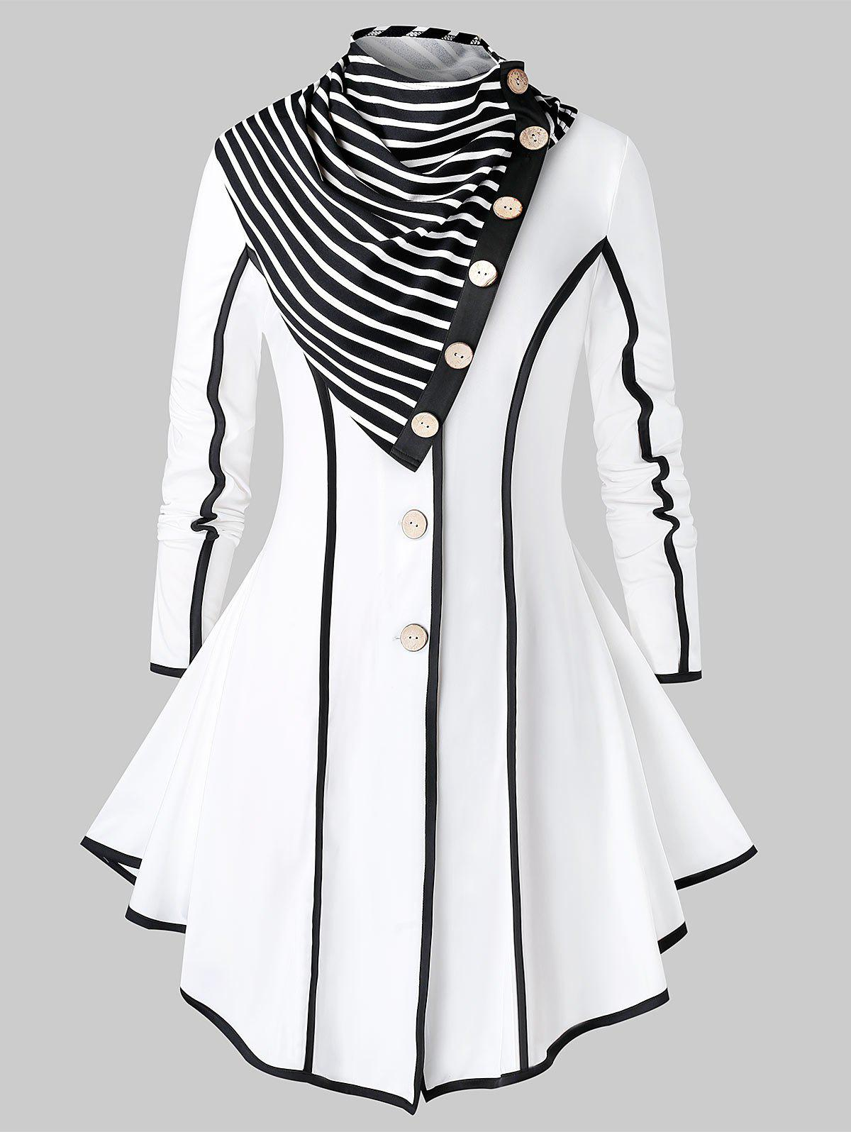 Plus Size Contrast Trim Single Breasted Skirted Coat With Scarf - WHITE 1X