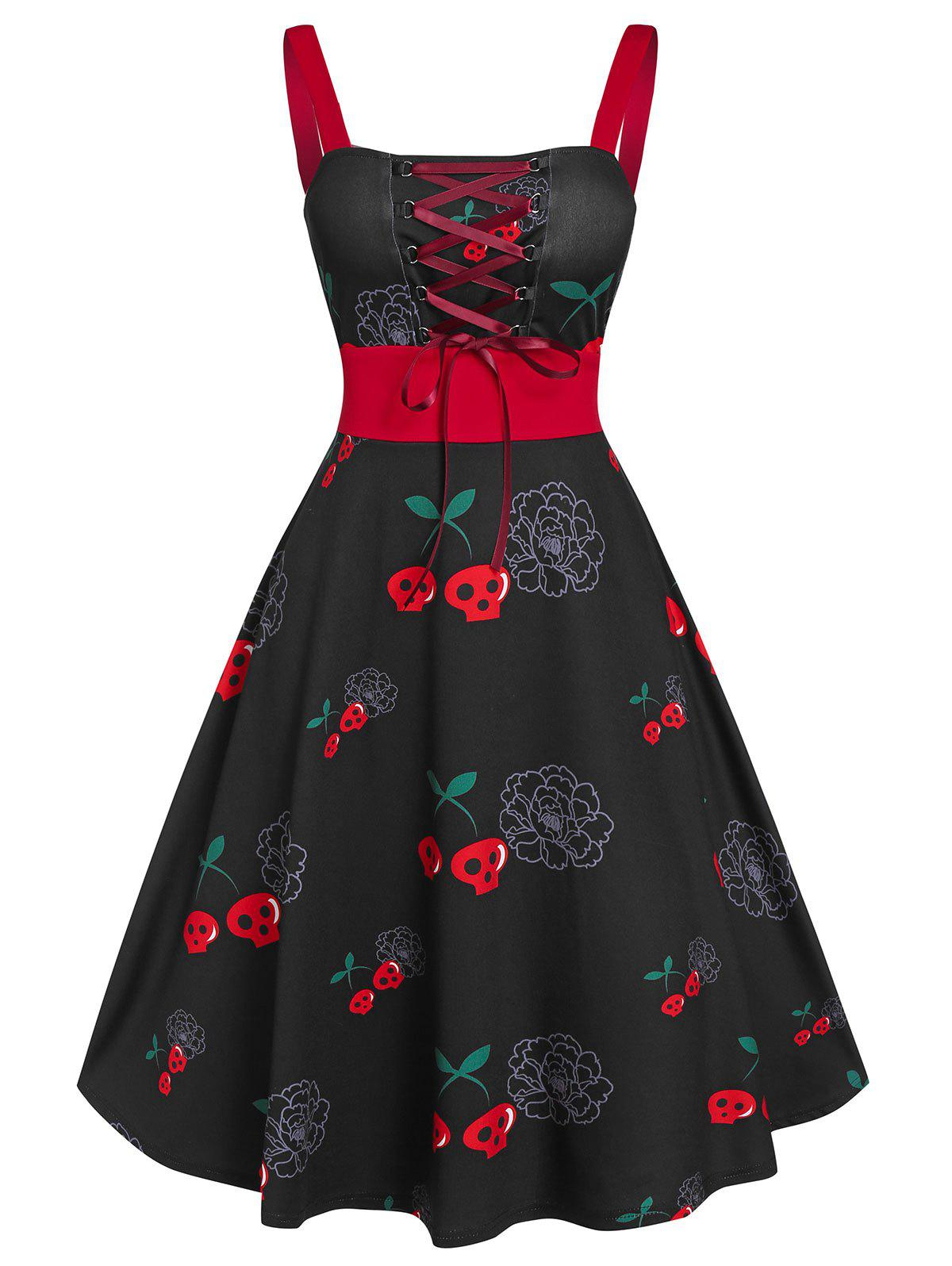 Halloween Vintage Lace Up Skull Print Swing Dress - BLACK 2XL