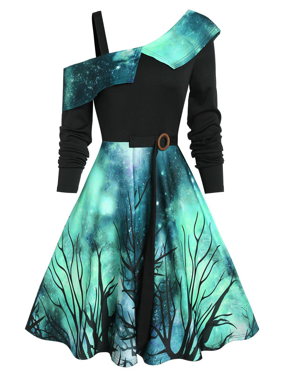 Starry Sky Halloween Skew Neck Asymmetrical Dress - DEEP GREEN 2XL