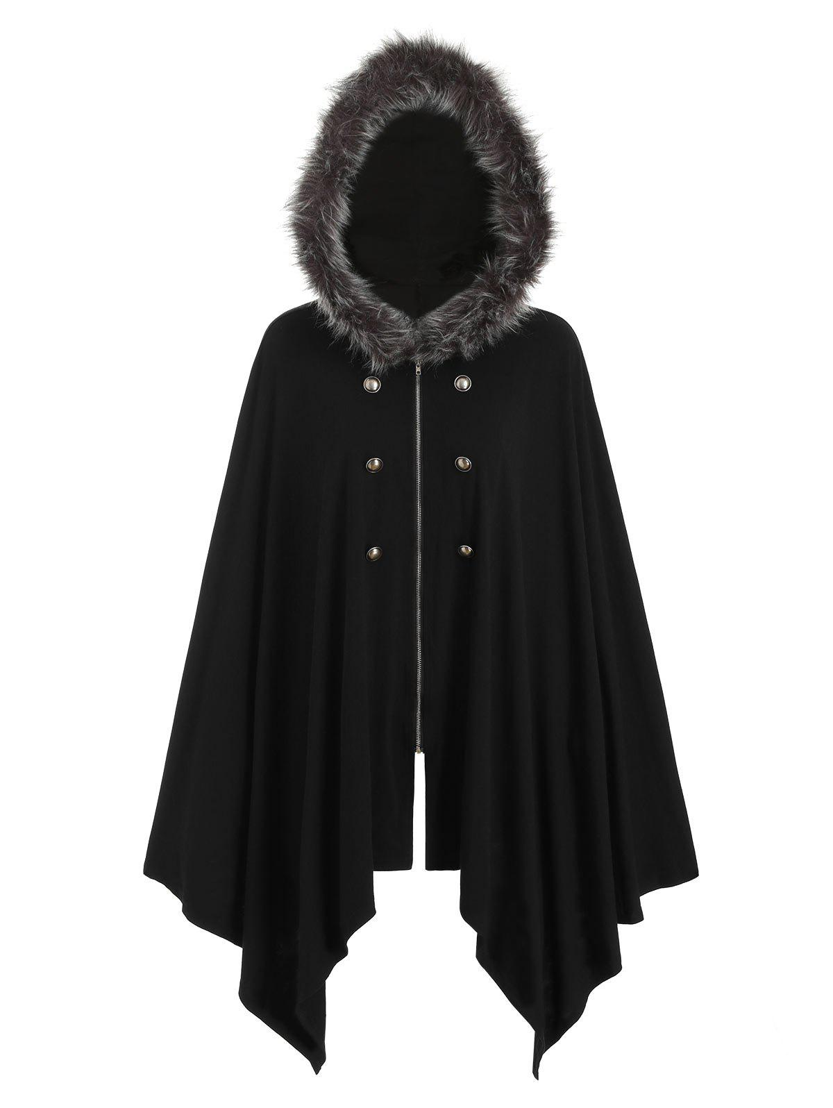 Buttons Zip Up Fur Trim Hooded Cardigan - BLACK XL